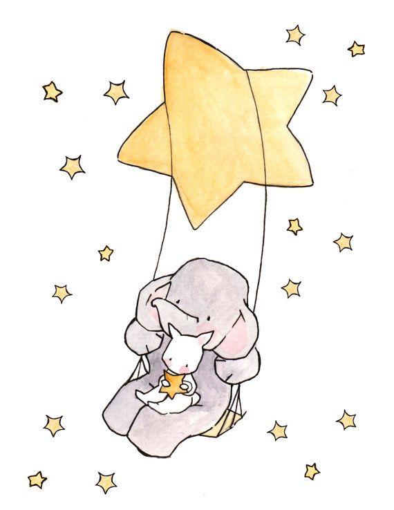 Estrellas y Luna 8 x 10 vivero arte ilustración impresión,