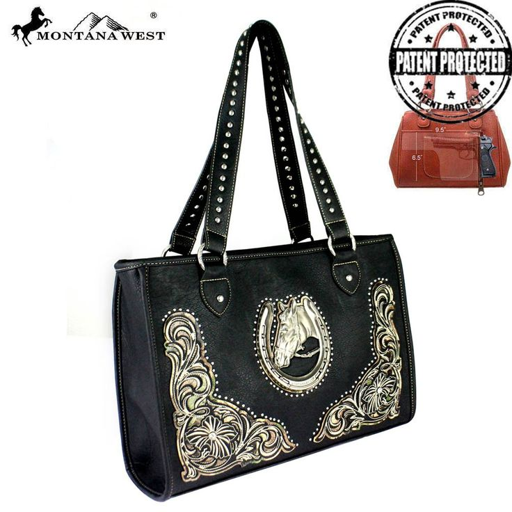MW389D-9220 Montana West Horse Collection Dual Sided (Right & Left Handed Carriers) Concealed Handgun Tote Bag - Handbag