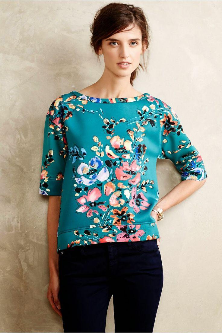 Anthropologie's Botanica Neoprene Sweatshirt :: Effortless Anthropologie - use details for Cynthia Rowley Simplicity 1366