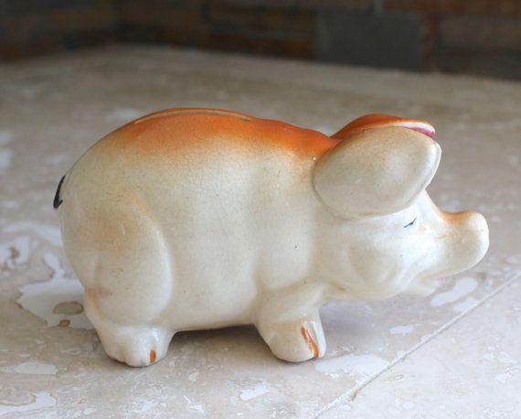 1920s ceramic piggy bank  very old piggy by CheekyChimpTreasures