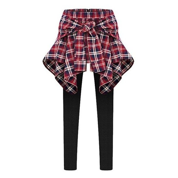 Inset Tied Around Plaid Shirt Leggings ($5) ❤ liked on Polyvore featuring pants, leggings, bottoms, jeans, plaid leggings, tie pants, plaid trousers, plaid pants and tartan leggings