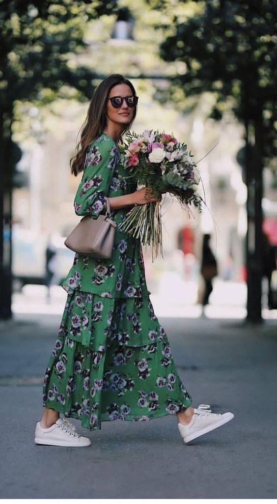 Αποτέλεσμα εικόνας για floral dresses maxi and sneakers
