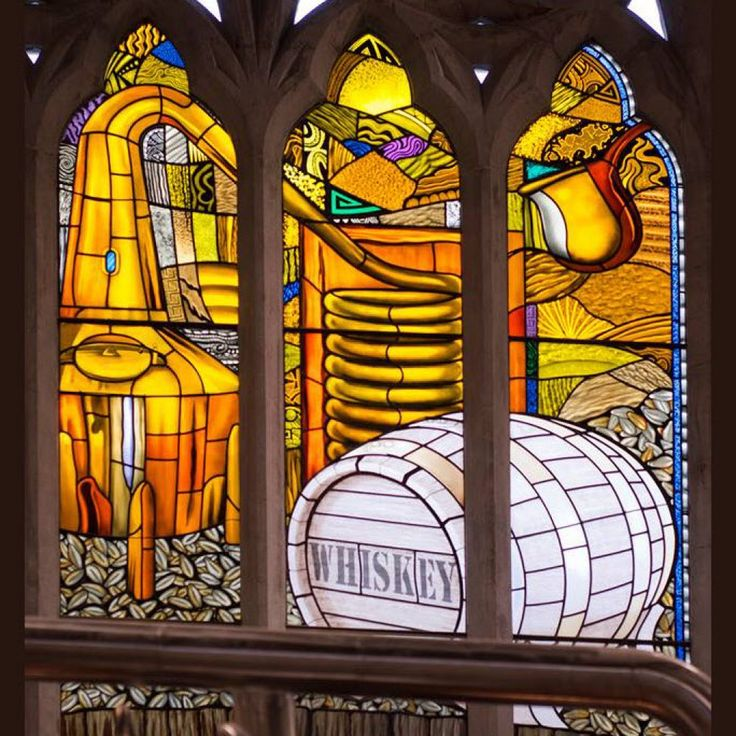 Pearse Lyons Distillery - TOTP Architects, Stained Glass with Story of the Brewing Process