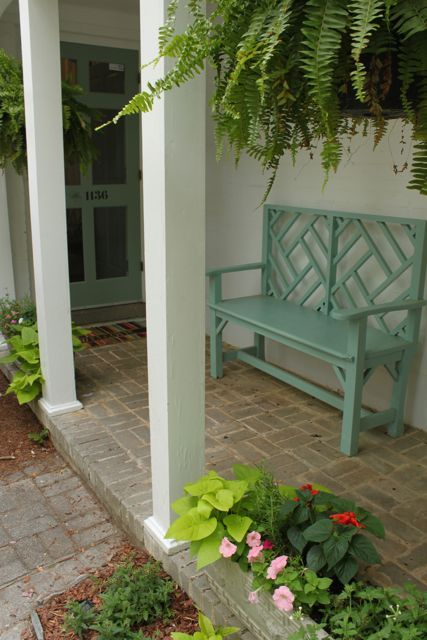 Seafoam outdoor furniture.: Benches Color, Front Entrances, Pink Wallpaper, Porches Balcones, Front Door Colors, Outdoor Spaces, Front Porches, Brick Work, Patio Porches
