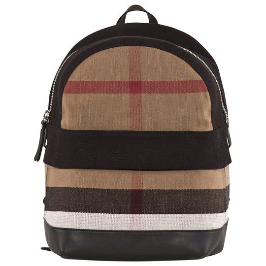 Burberry Canvas Check and Leather Backpack Black Black - 1