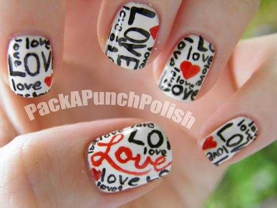 Words of Love with hearts nail art