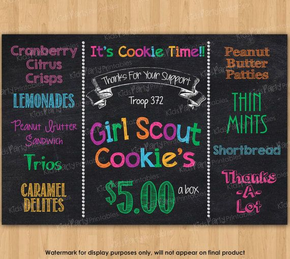 Girl Scout Cookies Sign Girl Scout by KidsPartyPrintables on Etsy