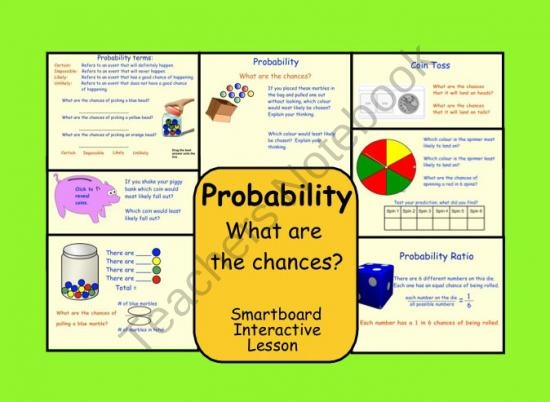 Interactive Probability: What are the Chances?  For Smartboard product from Teaching-The-Smart-Way on TeachersNotebook.com