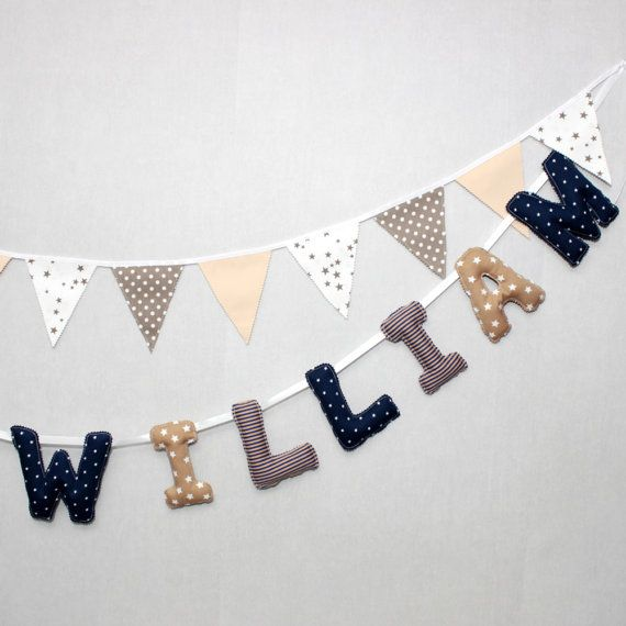 This adorable #garland of big letters for #babyboy is made in very great cotton fabrics ! Made in cotton with neutral colors to fit all interior