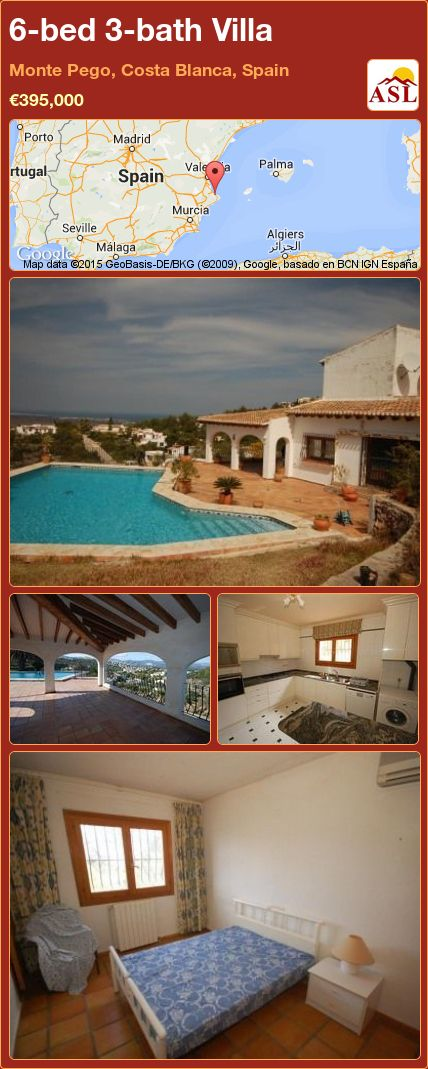 6-bed 3-bath Villa in Monte Pego, Costa Blanca, Spain ►€395,000 #PropertyForSaleInSpain