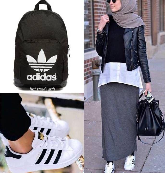 Adidas hijab style, Sporty hijab street style http://www.justtrendygirls.com/sporty-hijab-street-style/
