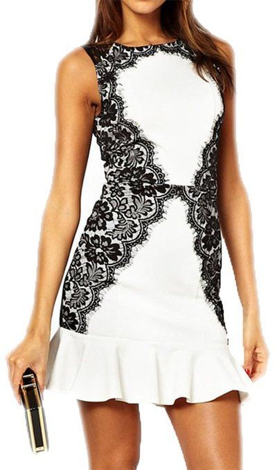 made2envy Lace Accents Ruffled Skirt Mini Dress