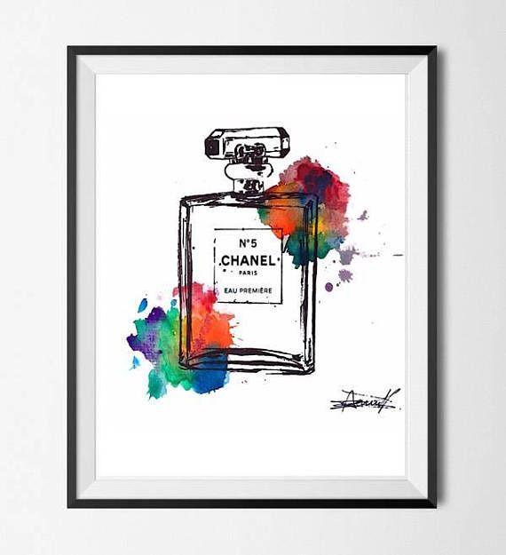 #chanel #perfume #giclee printed #wallArt #watercolour  https://www.etsy.com/uk/listing/555626127/chanel-no-5-perfume-inspired-water