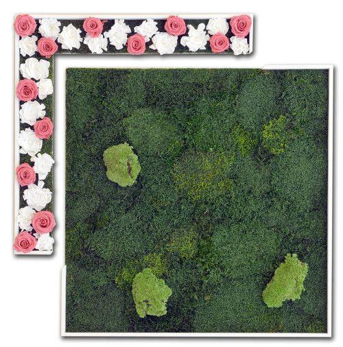 Glamour - Stabilized #moss, ball moss, red #rosebuds, white #gardenias. #Wood #frames. - by #LinfaDecor