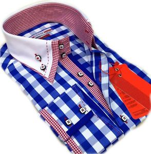 Brand New Men Slim Fit Italian Design Formal, Smart, Casual Shirt, Double Collar, Blue, White and Red, Checked Shirt  This is one of the most unique Formal Smart, Slim Fit, Italian Design Shirt, can also be great for Smart Casual wear, This is a highly desirable Men's Formal Smart Shirt, with its lightweight Pure Cotton featuring a lovely , White & designed Checked Inner Collar