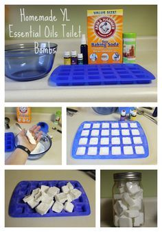 "Homemade Essential Oil Toilet Bombs! I'll try just about anything to keep that ""boy"" smell out of my bathroom! You'll Need: Baking soda, citric acid, Young Living Essential Oils, water, silicone mold, and a spray bottle. http://becknbear.blogspot.com/2014/12/homemade-toilet-cleaner.html"