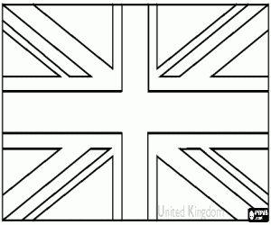 Gratis Britse rijksvlag, vlag van Verenigd Koninkrijk van Groot-Brittannië en Noord-Ierland kleuring en printen pagina.