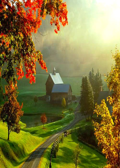 Farm, Woodstock, Vermont, USA.....can you imagine living here, surrounded with all this beauty of nature. So love it.