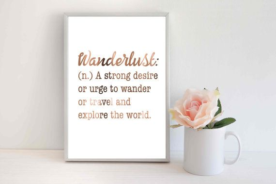 Copper Foil Print Wanderlust quote wanderlust by PeppaPennyPrints