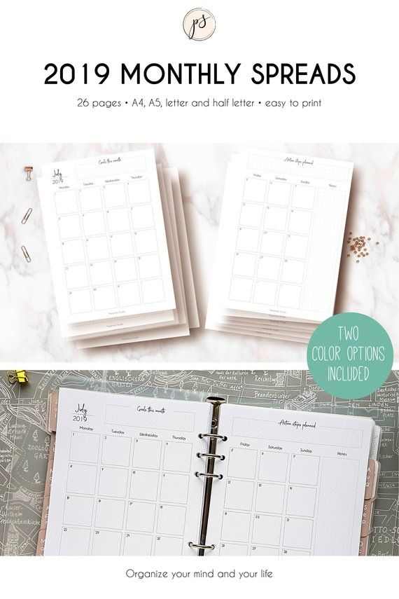 Printable MONTHLY SPREADS for 2019 Dated Monthly Calendar