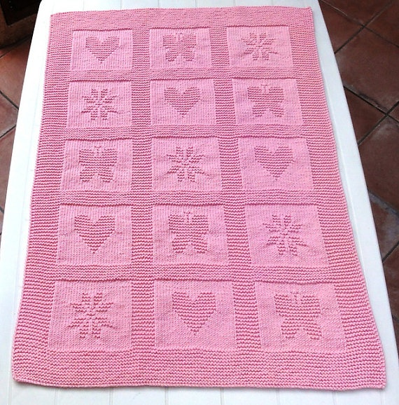Hearts Butterflies and Snowflakes Baby Blanket - $50.00    Find this at Passionate Knitting: www.etsy.com/shop/passionateknitting