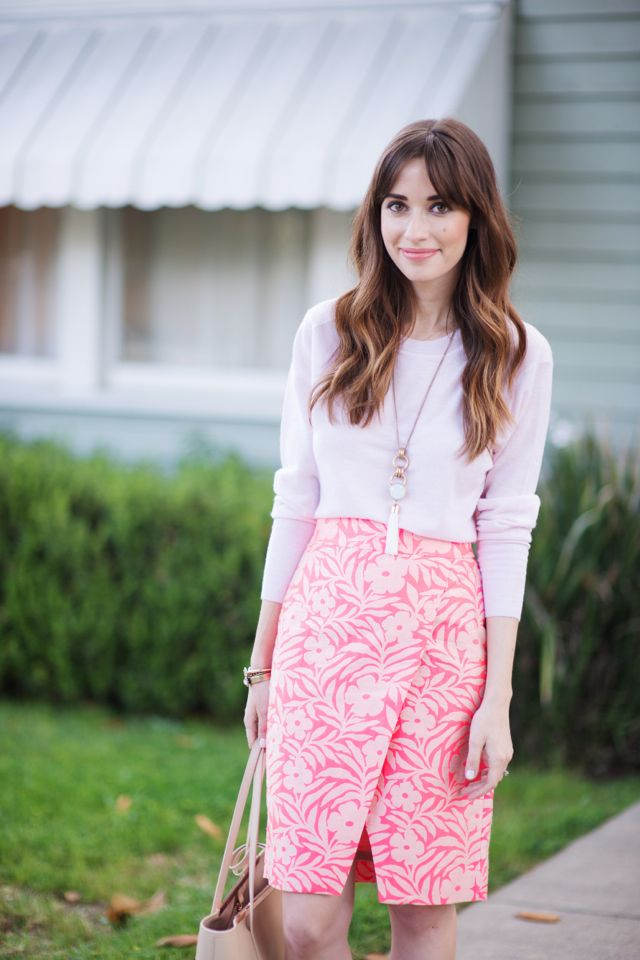 Pink cashmere sweater tee and printed skirt by Los Angeles fashion blogger M Loves M @marmar
