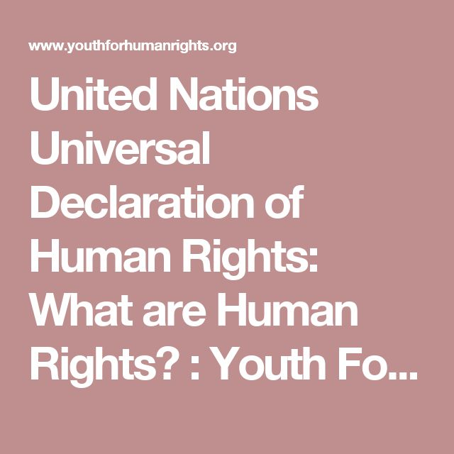 United Nations Universal Declaration of Human Rights: What are Human Rights? : Youth For Human Rights Video