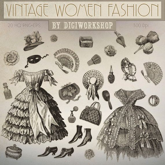 Fashion Clip art - clipart with vintage images of victorian women fashion  This vintage clip art contains 27 different womens clothing and accessories, very suitable for cards, invites, iron on transfer and scrapbooking!  * You will receive:  - 27 transparent PNG files with the womens clothing on a transparent background in a high resolution (3000px or higher width)  - 1 vector .EPS file with all the editable and scalable images of vintage womens fashion.  You might like these too:  Browse…