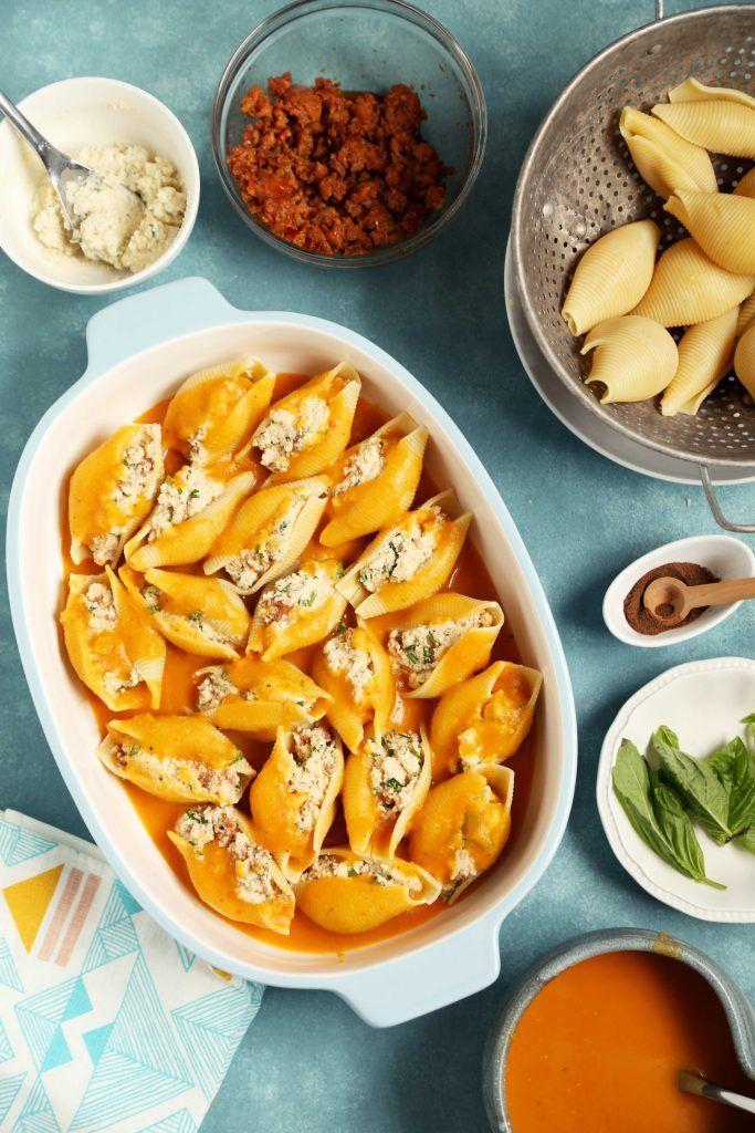 Blumenkohl Gefüllte Muscheln mit Butternut-Kürbis-Sauce
