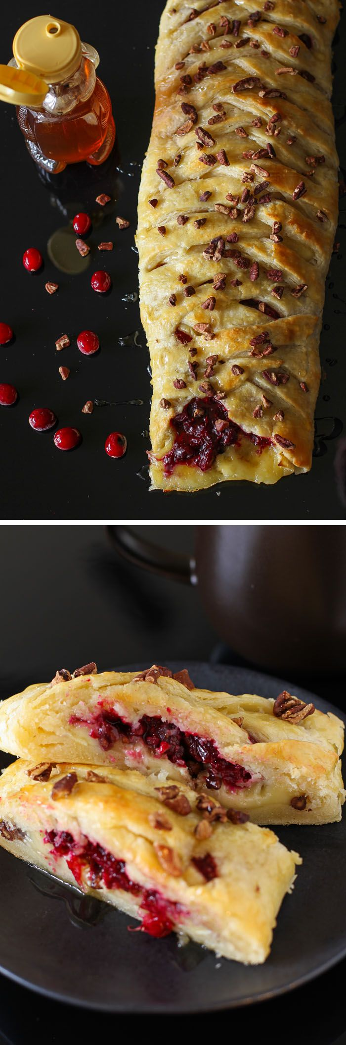 Honey-Drizzled Cranberry Brie Pastry Braid: totally gorgeous, absolutely delicious, shockingly easy! Perfect for New Year's Eve parties.