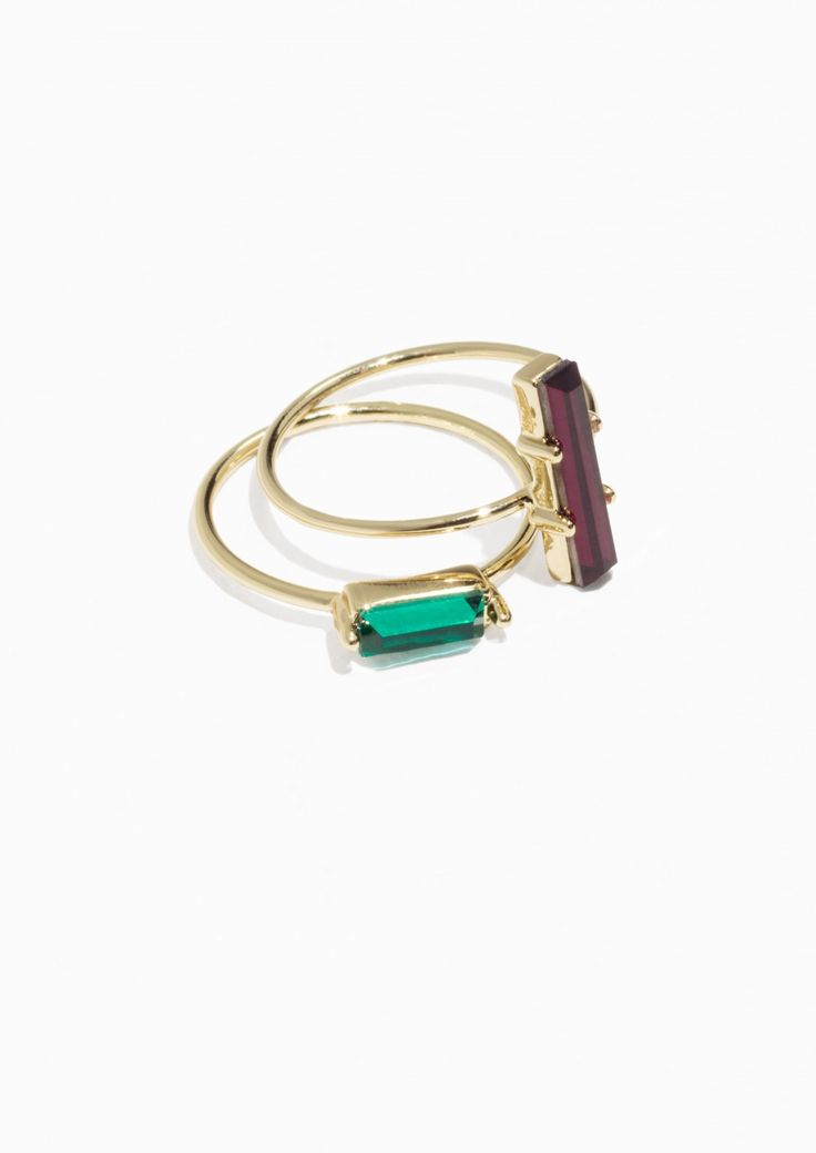 & Other Stories Two-Set Jewelled Rings in Green/Red