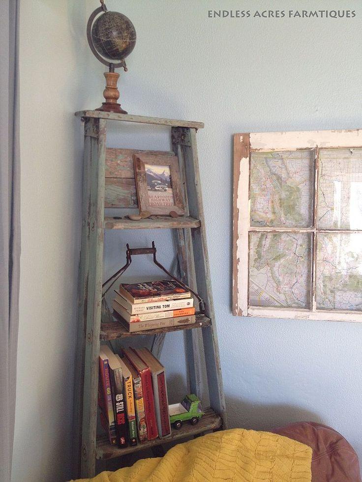 Upcycled Corner Ladder Shelf Ladder Shelf Diy Old Ladder Decor Corner Ladder Shelf