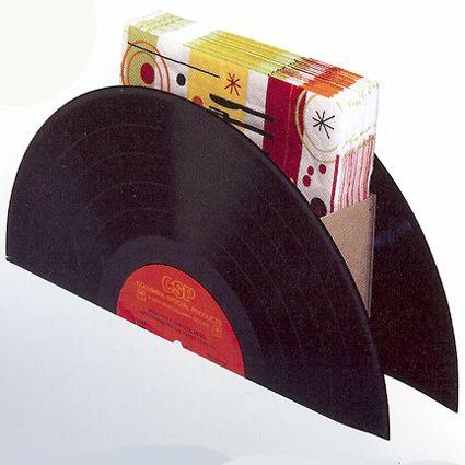 Servilletero de discos de vinilo