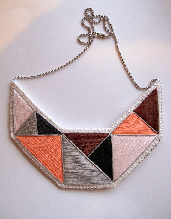 Bib #geometric #necklace embroidered in by AnAstridEndeavor on @Etsy