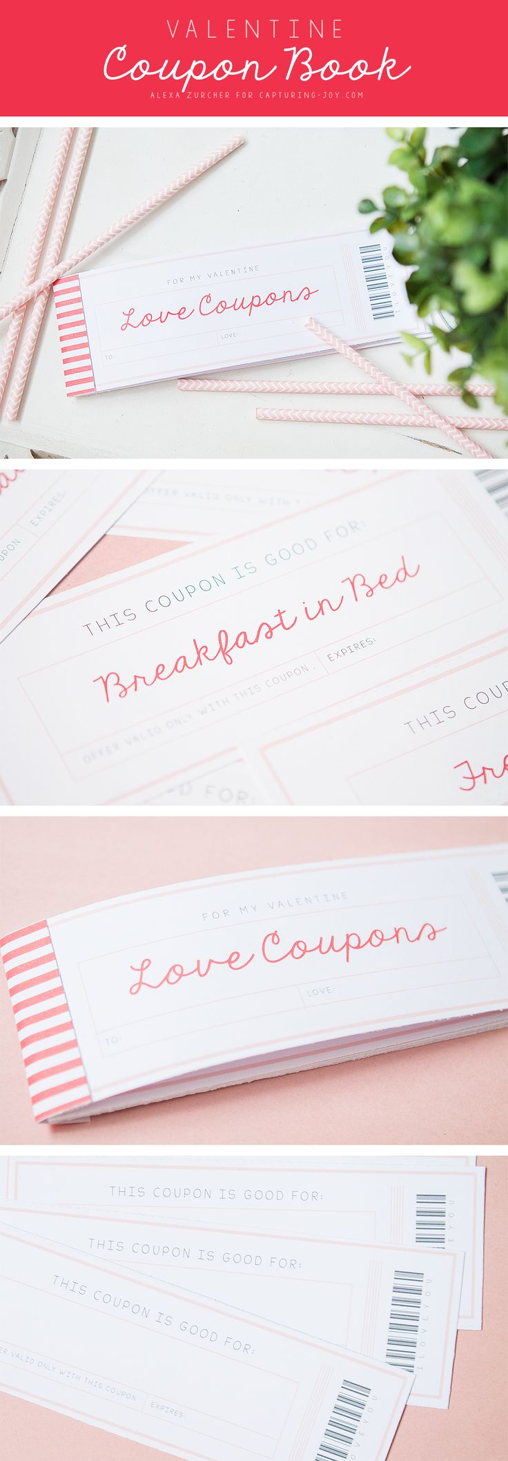 Great gift for that special someone on Valentine's Day!  Free printable LOVE Coupon book on Capturing-Joy.com!