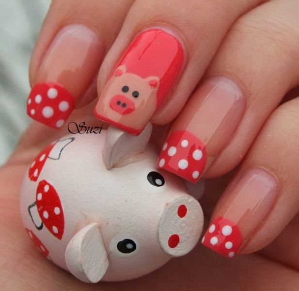 Funny Piggy Bank Obsession. #piggy #oink #girly #nailart #nailpolish