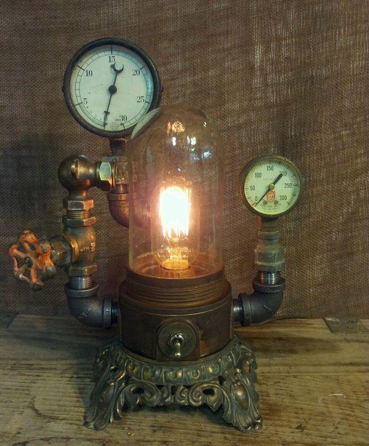 Steampunk lamp industrial art machine age light steam gauge pressure gauge train industrial - Steampunk pressure gauge ...