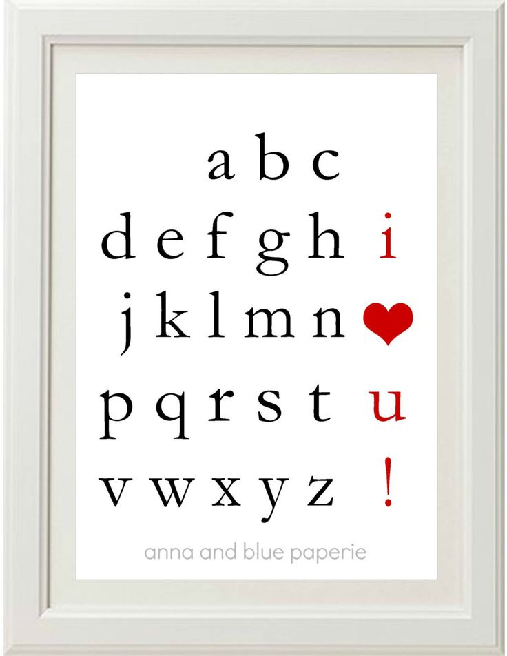 PRINTABLE custom Alphabet I Love You DIY Art Print - choose your colors by anna and blue paperie.