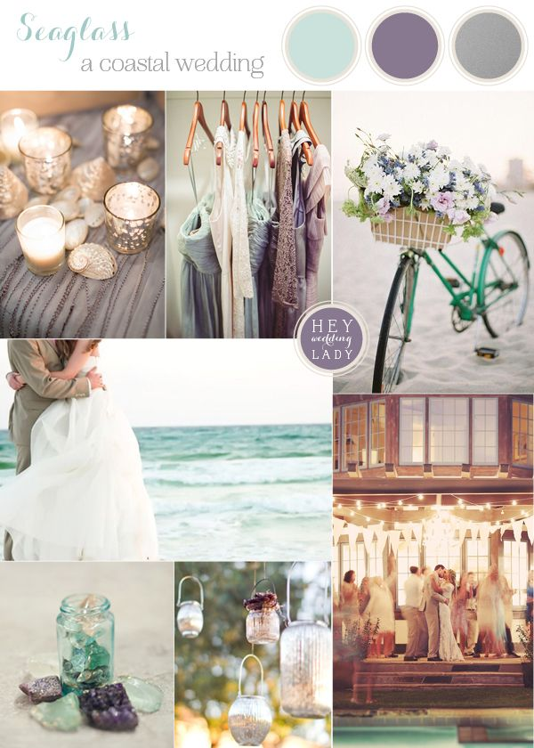 Seaglass - Coastal Wedding Inspiration in Aqua, Amethyst and Silver | See More! http://heyweddinglady.com/seaglass-seagrass-coastal-wedding-inspiration/