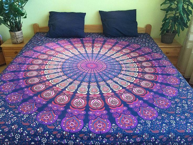 přehoz na postel, mandaly, ruční sítotisk, přehoz na pohovku, ozdobná tapisérie…