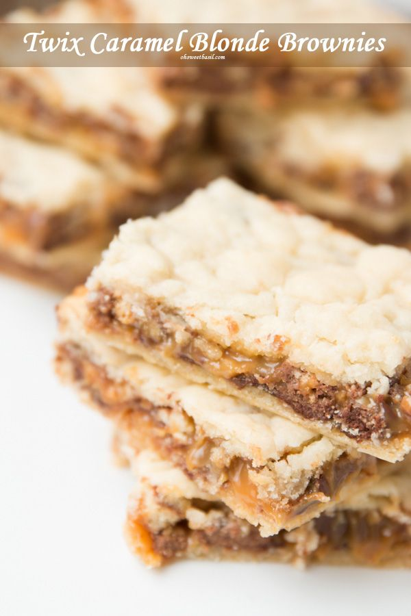 LOVE THESE! Twix caramel blonde brownies ohsweetbasil.com