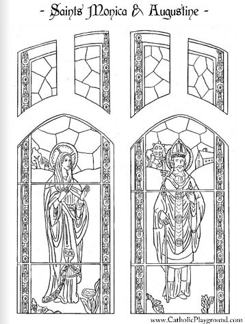 Saint Monica and Saint Augustine Catholic coloring page (Feast days are August 27 and August 28)