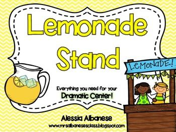 Turn your Dramatic Center into a fun and engaging lemonade stand! You and your students can pretend to make lemonade - or make the real thing and 'sell' it!This pack has everything you need:- various signs (Open, Closed, Lemonade For Sale, etc.)- recipe for lemonade- bunting sign (Lemonade Stand)- vocabulary for display in pocket chart - frequent customer punch card- role playing cards (Customer, Drink Maker, Cashier)- various writing paper how to make lemonade...and LOTS more!(Please…