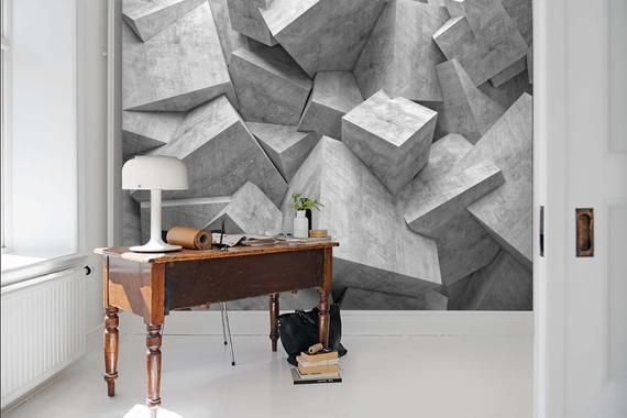 3d Grey Dislocation Stone Pattern Wallpaper Mural Peel And Etsy In 2021 Textured Wallpaper Concrete Texture Wall Murals
