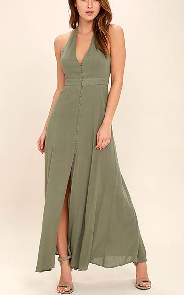 Lingering Thoughts Olive Green Halter Maxi Dress via @bestmaxidress