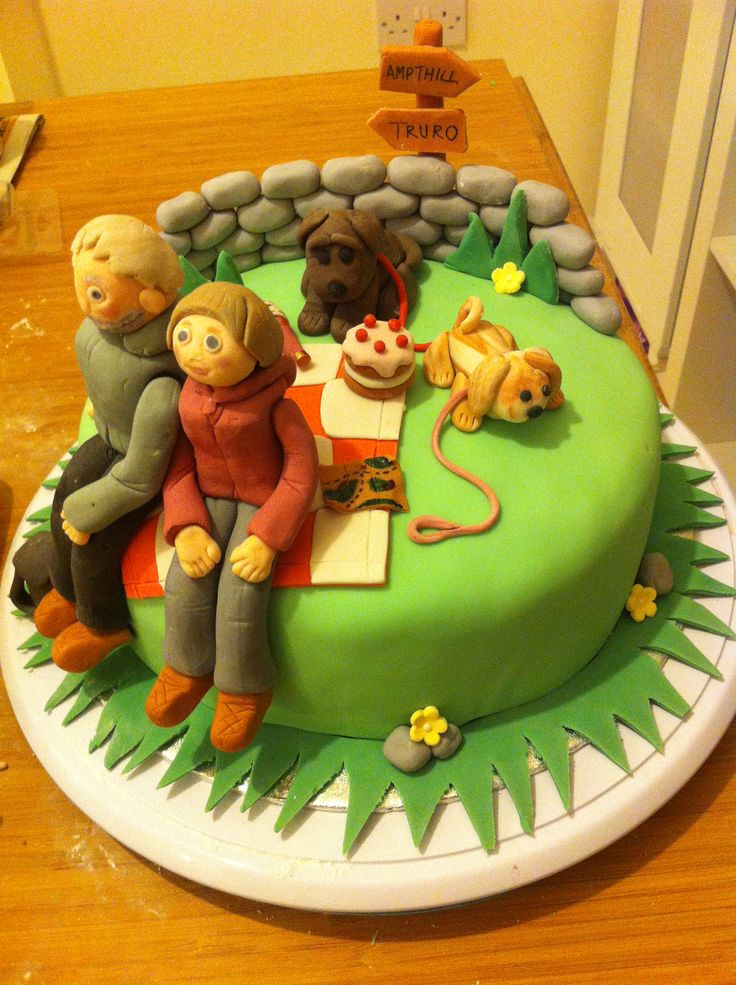 Walking / hiking cake made for a birthday. My first model people and animals :)