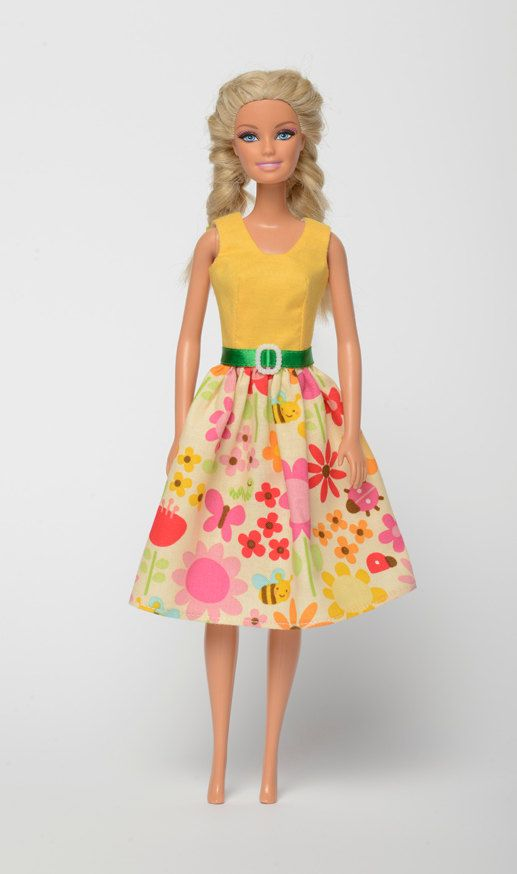"Handmade Barbie doll clothes, Barbie dresses, Barbie outfit - ""Bugtale"" floral Barbie dress (220)"