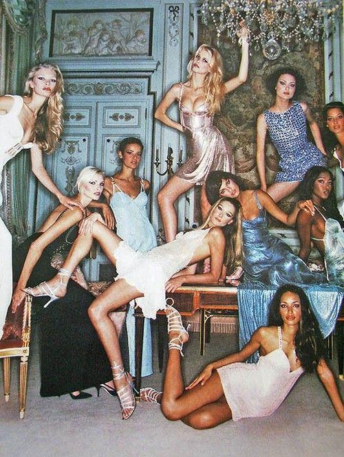Whatva super models Christmas party looks like!!!!    Kirsty Hume, Nadja Auermann, Nadege du Bospertus, Carla Bruni, Claudia Schiffer, Shalom Harlow, Linda Evangelista, Naomi Campbell & Brandi Quinones, circa mid 90s