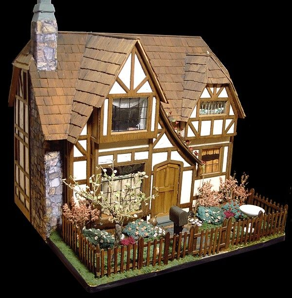 The Glenn Croft A Two-story Tudor Style Built from the Greenleaf kit, made of stamp-cut plywood