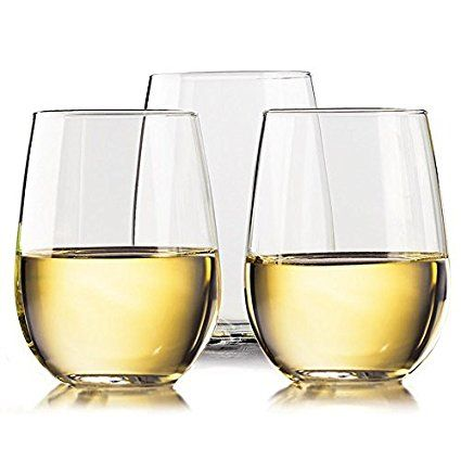 Unbreakable Stemless Wine Glasses   100% Tritan Shatterproof Plastic Wine Glass   Dishwasher safe   Smooth Rims   Set of 4   16oz   by TaZa